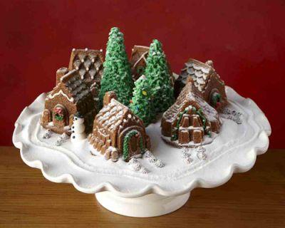 Snow village cake